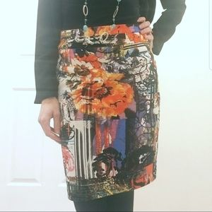 Abstract Graphic Pencil Skirt